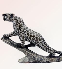Climbing African leopard