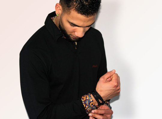 MICOBI black fitted long sleeve polo