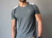 MICOBI fitted grey tee with brocade