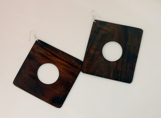 Africa Solid wood Disc Earrings