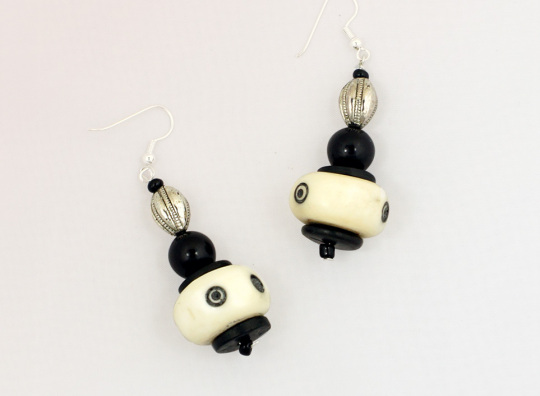 African Bead And Bone Earrings