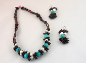 African Natural seed aqua green Necklace And Earring Set